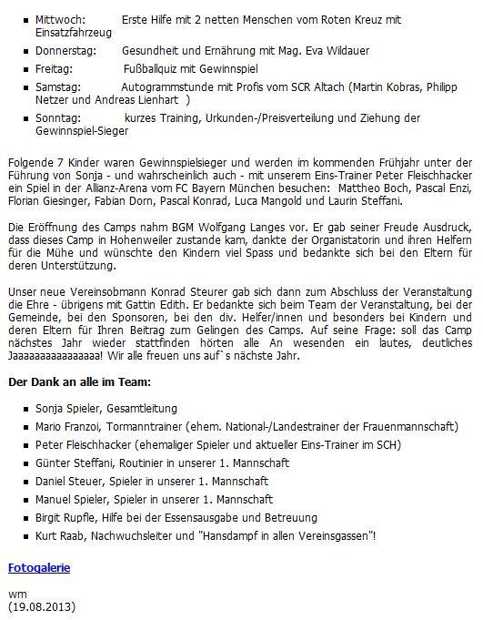 Fussballcamp Bericht Und Bilder2018 Dietrich Luft Klima